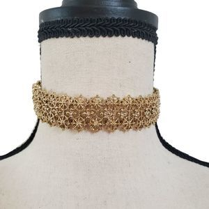 Gold Wheels and Crystal Choker Necklace